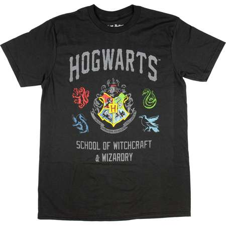 Harry Potter Hogwarts Crest Mens Black T-shirt thumb
