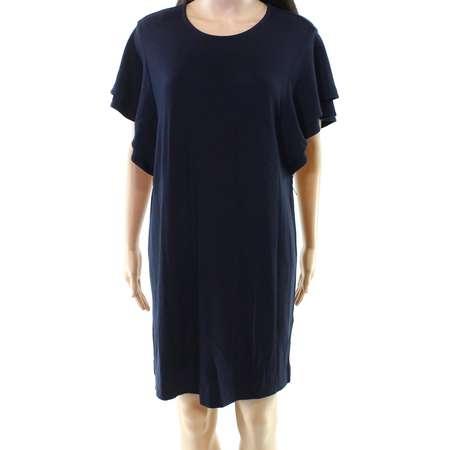 Felicity & Coco NEW Blue Womens Size Medium M Ruffle Sleeve Shift Dress thumb