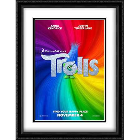 Trolls 28x36 Double Matted Large Large Black Ornate Framed Movie Poster Art Print thumb