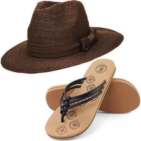 Coco Keys Women's Year Round Floppy Straw Sun Hat and Foam Flip Flop Sandals Set US Women's Shoe Sizes 7-10 thumb