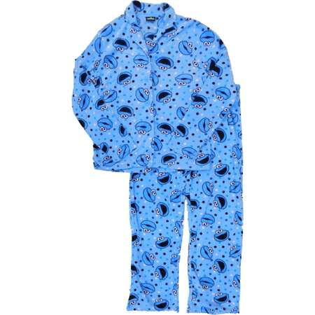 Womens Blue Cookie Monster & Polka Dot Pajamas Sesame Street Sleep Set Large thumb