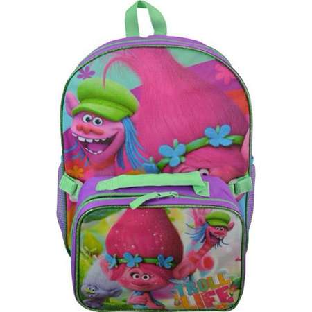 "Backpack - Trolls - Poppy & Copper 16"" w/Lunch Kit New TROZ thumb"