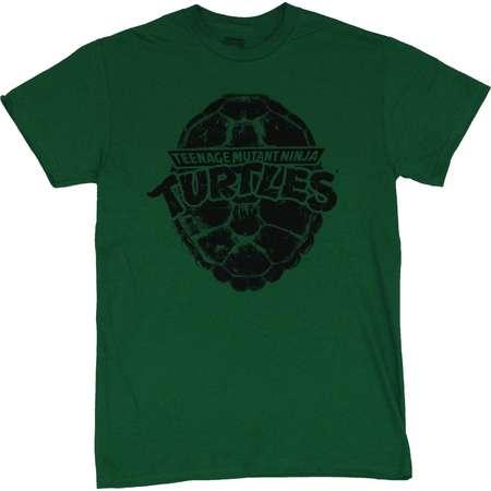 Teenage Mutant Ninja Turtles Mens T-Shirt - Black Stamped Shell Logo Image thumb
