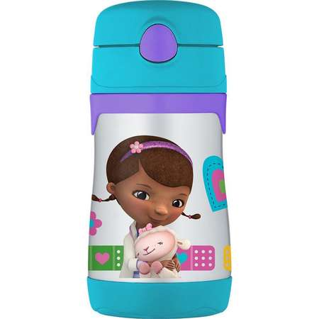THERMOS Vacuum Insulated Stainless Steel 10 Oz Straw Bottle, Doc McStuffins thumb