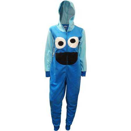 Sesame Street Cookie Monster Hooded One Piece Pajamas thumb
