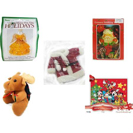 Christmas Fun Gift Bundle [5 Piece] - Darice s Gold Beaded Angel Ornament Craft Kit - Vintage Designed Stocking Hanger Santa - 2011 Avon Santa Outfit Wine Bottle Cover  -  Moose With Plaid Backpack thumb