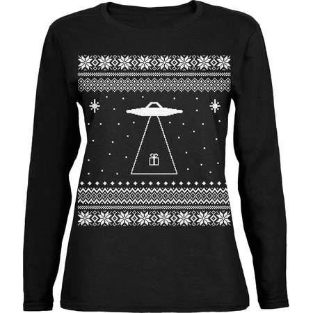 Alien Beam Ugly XMAS Sweater Black Womens Long Sleeve T-Shirt thumb