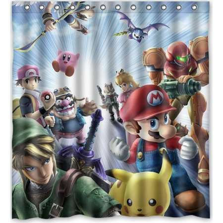 DEYOU Super Mario Brothers Pattern Shower Curtain Polyester Fabric Bathroom Size 66x72 Inch Thumb