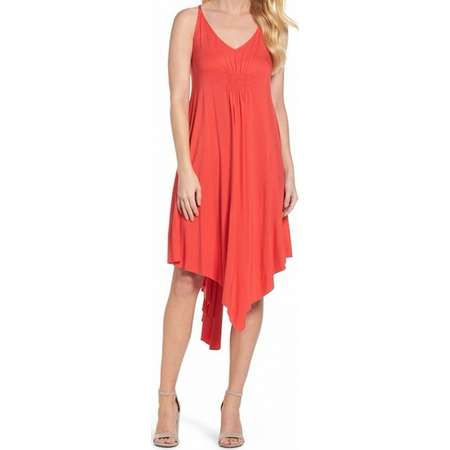 Felicity & Coco NEW Red Womens Size XS V-Neck Asymmetrical Sheath Dress thumb