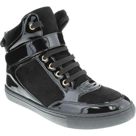 Moca Sneaker-02 Women's Casual Faux Leather High Top Sneaker, Black 7.5 F US thumb