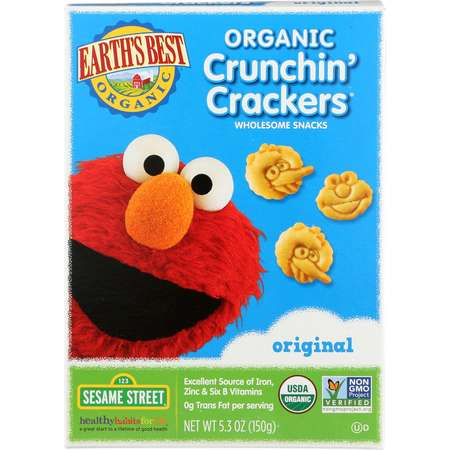 Earth's Best Organic Toddler Original Sesame Street Crunchin' Crackers, 5.3 oz thumb