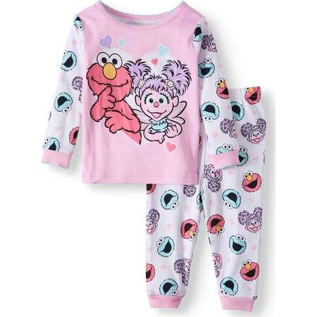 Sesame Street Baby Girls' Cotton Tight Fit Pajamas, 2-Piece Set thumb