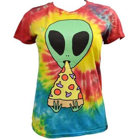 Jac Vanek Women's Alien Eating Pizza Tie Dye Tee Shirt XS W55 thumb