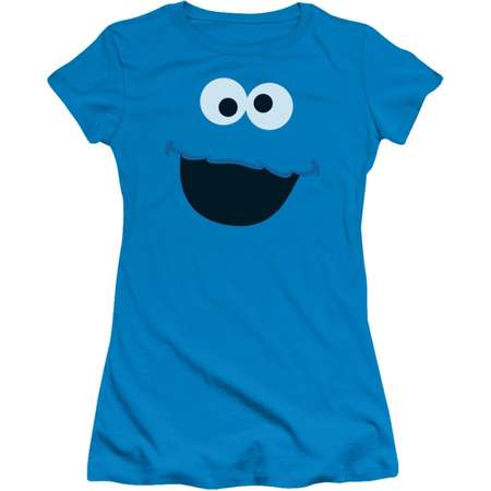 Sesame Street TV Show Cookie Monster Face Outline Juniors Sheer T-Shirt Tee thumb