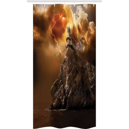 Fantasy Stall Shower Curtain, Fantasy Castle on Top of the Cliff with Thunder Supernatural Place Fiction Print, Fabric Bathroom Set with Hooks, 36W X 72L Inches Long, Orange Brown, by Ambesonne thumb