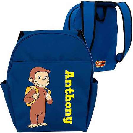 Personalized Curious George Ready for School Blue Toddler Backpack thumb