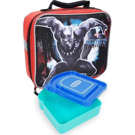 Boys Marvel Black Panther Insulated Lunch Bag & Sandwich Box 2Pcs thumb