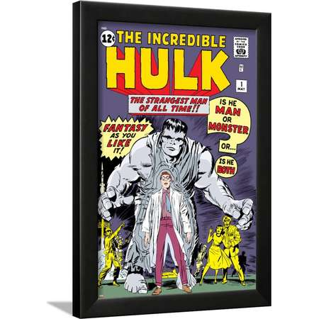 Marvel Comics Retro: The Incredible Hulk Comic Book Cover No.1, with Bruce Banner Framed Print Wall Art thumb