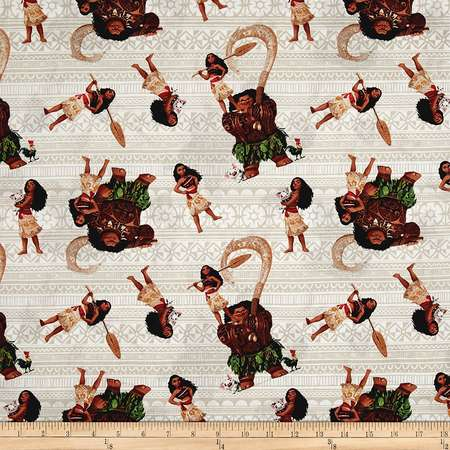 Disney Moana and Friends Gray Fabric By The Yard, Quilting Cotton By EE Schenck thumb