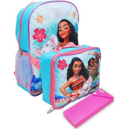 "Girls Moana Backpack 16"", Lunch Bag & Pencil Case 3Pcs thumb"
