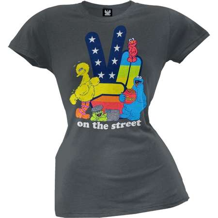 Sesame Street - Peace On The Streets Juniors T-Shirt thumb