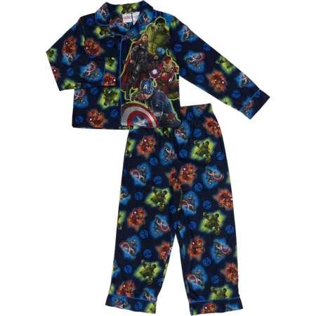 70d436a8a21ecd Marvel Comics Boys Blue Flannel Pajamas Avengers Age Of Ultron Sleepwear  Set thumb