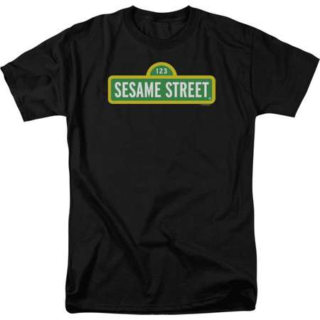 Sesame Street Classic Children's TV Show Original Logo Black Adult T-Shirt Tee thumb