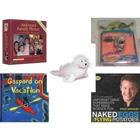 Children's Gift Bundle [5 Piece] -  Awkward Family Photos  - Shrek Donkey Foamheads 4 In 1 Topper Keychain  - Webkinz White Seal  - Gaspard on Vacation  - Naked Eggs and Flying Potatoes: Unforgettab thumb