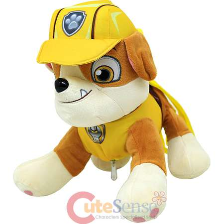 "Paw Patrol Rubble Plush Doll Backpack 14"" Costume Bag Bulldog Stuffed Toy thumb"