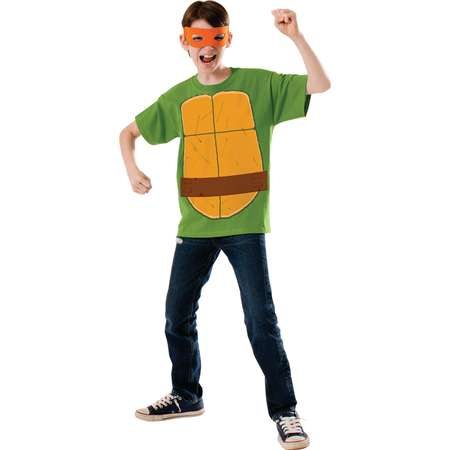 Boy's Teenage Mutant Ninja Turtles TMNT Michelangelo Shirt Eyemask Costume thumb