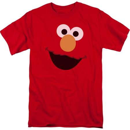 Sesame Street Classic Children's TV Show Elmo Face Outline Adult T-Shirt Tee thumb