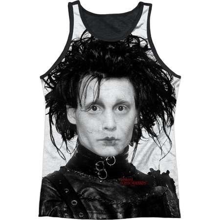 Edward Scissorhands Romantic Edward Portrait Adult Black Back Tank Top Shirt thumb