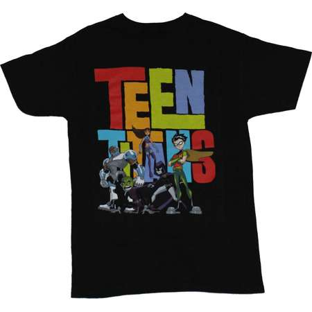 Teen Titans Go Mens T-Shirt - Full Color Group Over Multi Color Letter Logo (Small, Small) thumb