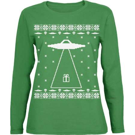 Alien Abduction Ugly XMAS Sweater Green Womens Long Sleeve T-Shirt thumb