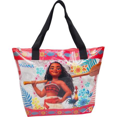 Girls Disney Moana Large PVC Zip Tote Beach  Bag Clear thumb
