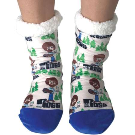 Women's Bob Ross Slipper Socks, Warm Thick Fleece Lined - Happy Trees thumb
