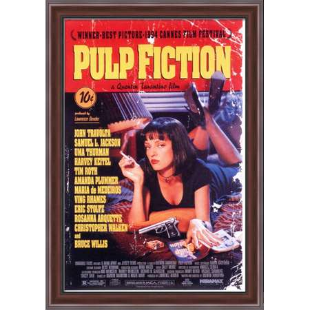 Pulp Fiction 28x40 Large Walnut Ornate Wood Framed Canvas Movie Poster Art thumb
