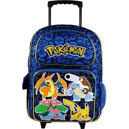 "Nintendo Pokemon Pikachu 16"" Blue and Black School Rolling Backpack thumb"