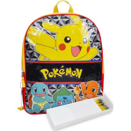 "Boys Pokemon Starters Backpack 15"" and Pencil Case 2Pc Set Pikachu Squirtle thumb"