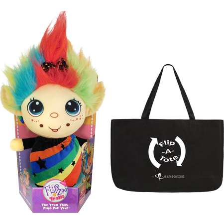 "Flip Zee Trolls RAINBOW GALORE w/ Exclusive FlipaTote, 2 in 1 9"" Plush, The Troll That Flips for you! thumb"
