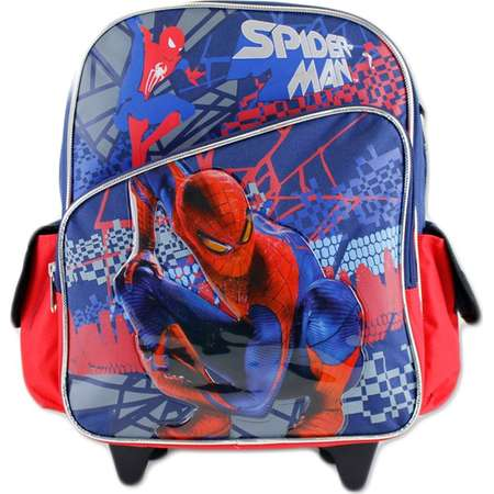 12' Spiderman slanted front pocket navy and red theme rolling Backpack by S Shop thumb