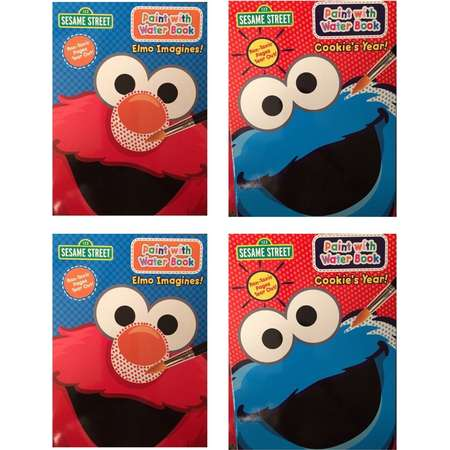 Set of 4 Sesame Street Paint with Water Coloring Book Featuring Elmo and Cookie Monster thumb