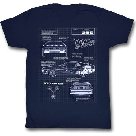 BACK TO THE FUTURE BLUEPRINT T-Shirt Adult Unisex Navy by American Classics thumb