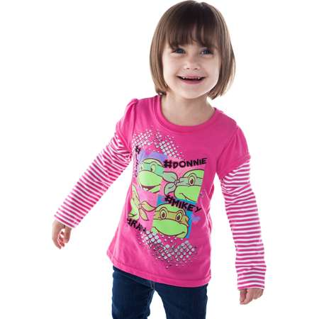 Toddler Girls Teenage Mutant Ninja Turtles Long Sleeve Shirt - Pink thumb