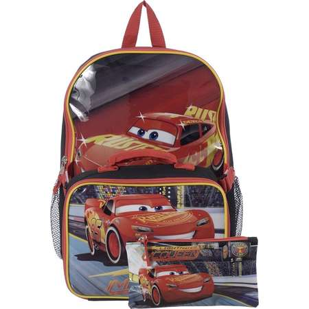 89159acf0cc Cars 15 Inch Multicolored Boys School Backpack with Lunch Kit and Pencil  Case   Lightning McQueen  .  24.99   Walmart