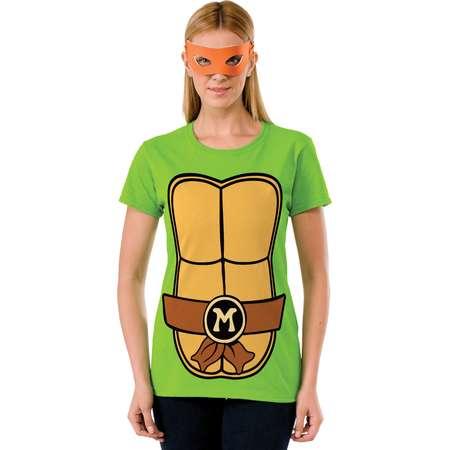 Women's Teenage Mutant Ninja Turtles Michaelangelo T-Shirt Mask Set thumb