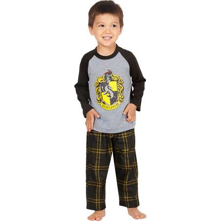 Harry Potter Pajamas Little And Big Boys' Raglan Shirt And Plaid Pants Set -Gryffindor, Ravenclaw, Slytherin, Hufflepuff thumb