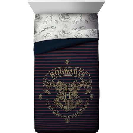 Harry Potter Spellbound Hogwarts Emblem Reversible Twin/Full Comforter with Gold Foil Design thumb