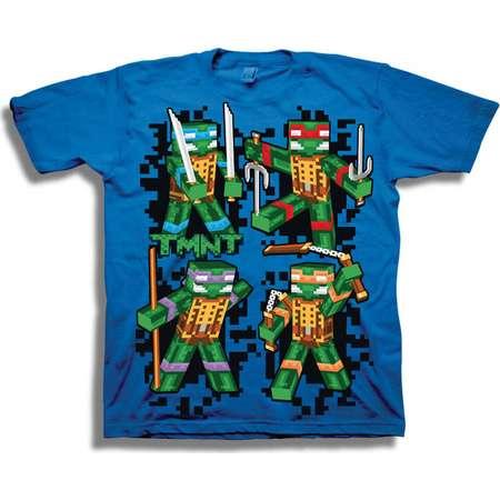 Teenage Mutant Ninja Turtles TMNT Retro 8-Bit 3D Group Shot Boys' Short Sleeve Graphic Tee T-Shirt thumb