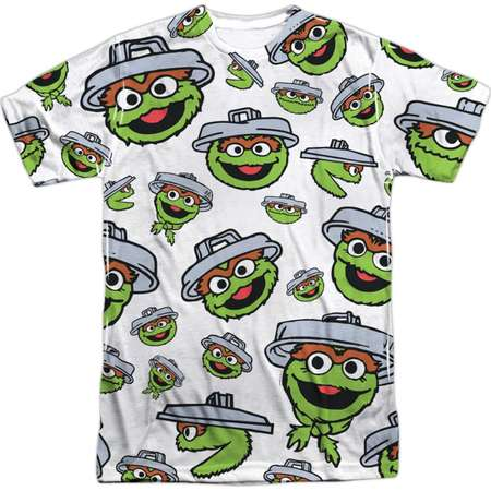 Sesame Street Classic TV Show Oscar Faces Pattern Adult Front Print T-Shirt thumb